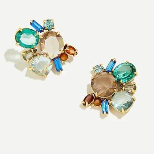 J. CREW Rusty Aubergine Crystal Cluster Earrings